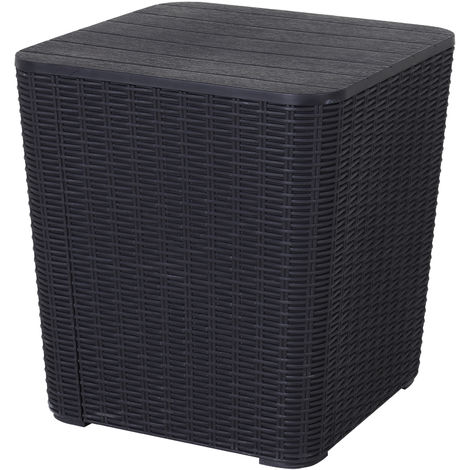 Outsunny Plastic Square Side Table w/ Storage Outdoor Garden Patio Black