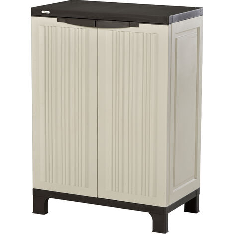 Outsunny Plastic Utility Cabinet Garden Tool Double Door Storage Adjustable Shelves - Beige