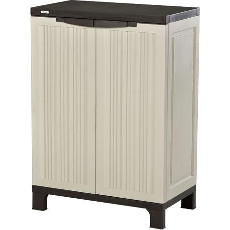 Outsunny Plastic Utility Cabinet Garden Tool Double Door Storage Adjustable Shelves - Grey
