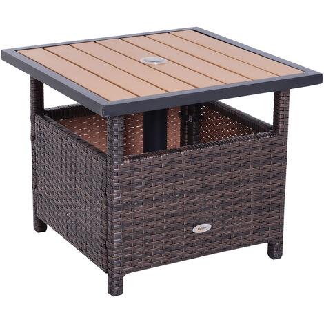 Outsunny® Polyrattan Beistelltisch Gartentisch für Sonnenschirm