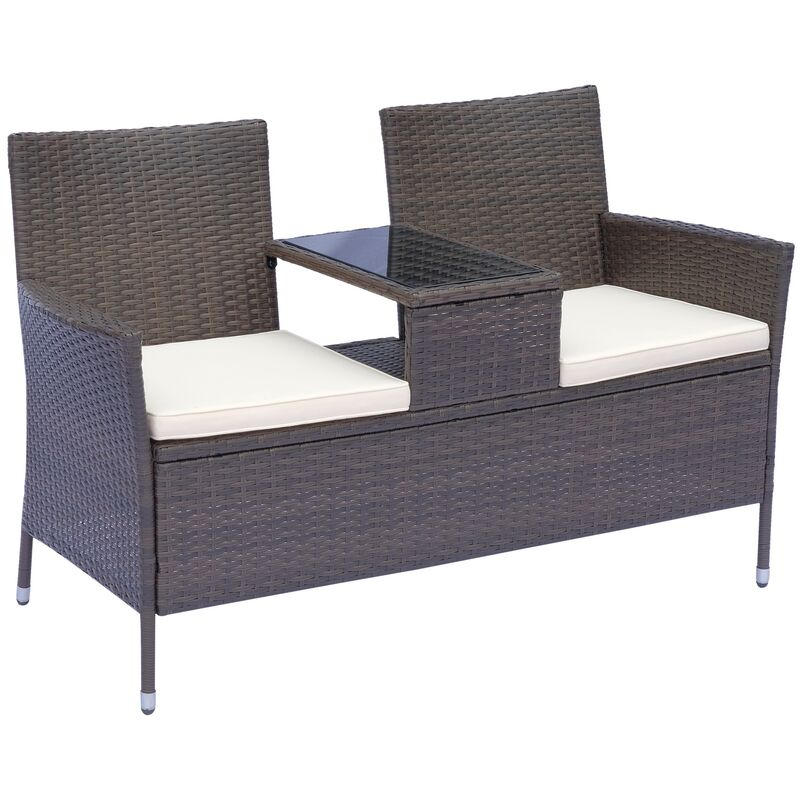 outsunny polyrattan gartenbank gartensofa mit tisch 2. Black Bedroom Furniture Sets. Home Design Ideas