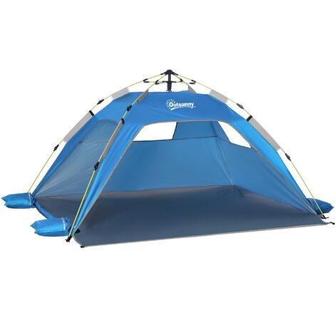 Outsunny Pop-Up Beach Tent w/ 2 Mesh Windows 2 Doors Carry Bag Sky Blue