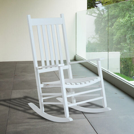 Outsunny Porch Rocking Chair Outdoor Patio Wooden Rocker Balcony Garden Seat White