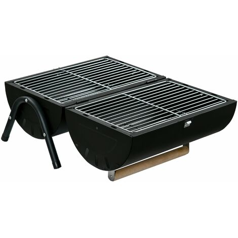 Outsunny Portable BBQ Grill Double Side w/ Handle Lock Enamel Coating Black