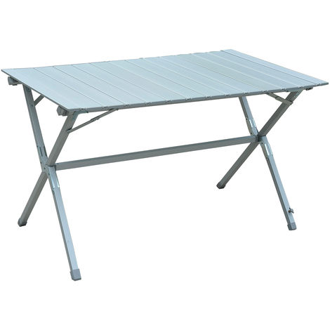 Outsunny Portable Picnic Table w/ Aluminium Frame Roll-Up Top Carry Bag