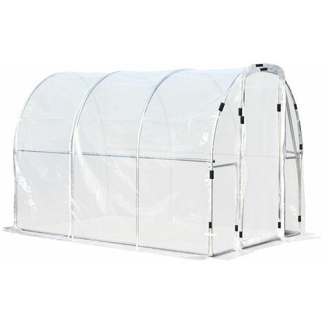 Outsunny Portable Plastic Greenhouse Walk In w/ Steel Frame Door 200x200cm