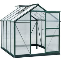 Outsunny Portable Polycarbonate Walk-In Garden Greenhouse Aluminum Frame Plant Hobby Outdoor