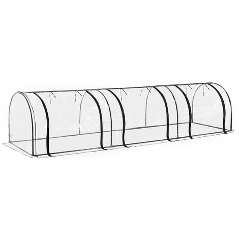Outsunny Portable Transparent PVC Tunnel Greenhouse Garden Patio 80Hx350Lcm