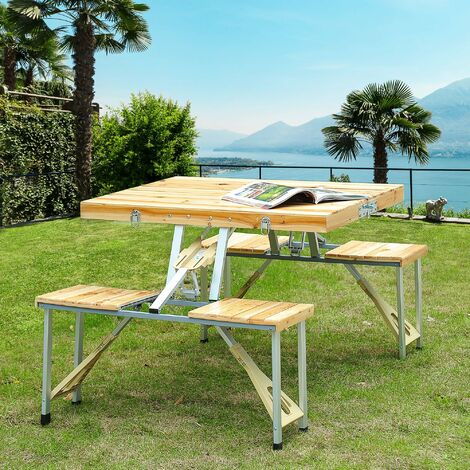 Amazing Outsunny Portable Wooden Folding Camping Picnic Table Garden Download Free Architecture Designs Scobabritishbridgeorg