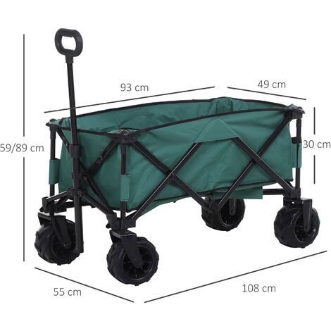 Outsunny Pull-Along Trailer Cart Foldable w/ Telescopic Handle Transport Folding