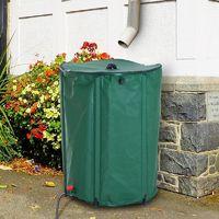 Outsunny PVC Water Butt Rainsaver Free Standing Raintrap Diverter Green