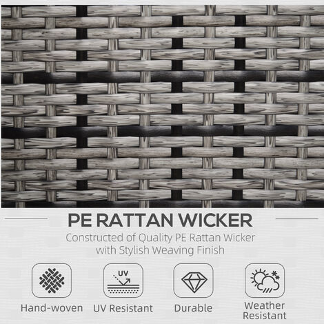 """main image of """"Outsunny Rattan Armchair w/ Padded Cushion Outdoor Garden Seat Wicker Grey"""""""