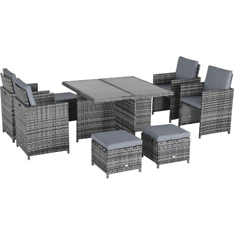 """main image of """"Outsunny Rattan Dining Set Garden Furniture Cube Table Chair Stool Cushion Seat"""""""