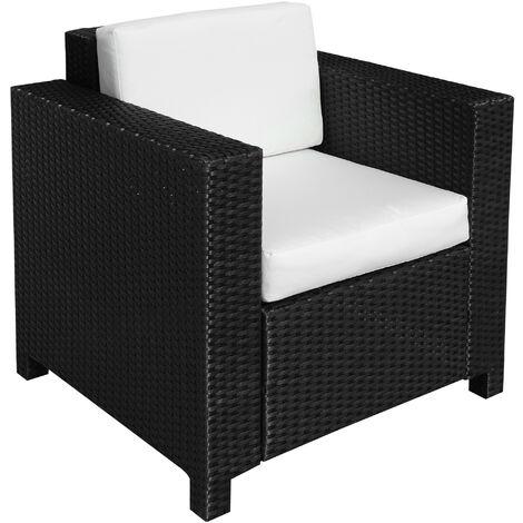 Outsunny Rattan Garden 1 Seater Chair Wicker Weave Single Sofa Armchair Outdoor Chair Fire Retardant Sponge Black