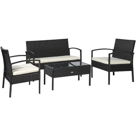Outsunny Rattan Garden Furniture 4 PCs Sofa Set Wicker Weave - Black