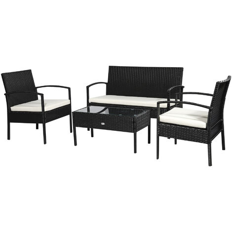 Outsunny Rattan Garden Furniture 4 PCs Sofa Set Wicker Weave - Black