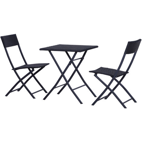 Outsunny Rattan Garden Furniture Coffee Set 2 Wicker Weave Folding Chairs and 1 Square Table (Black)