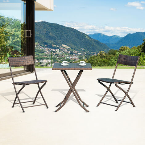 Outsunny Rattan Garden Furniture Outdoor Patio Coffee Set - Brown