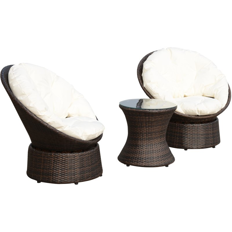 Magnificent Outsunny Rattan Garden Furniture Set 3 Pcs Bistro Set 2 Seater Swivel Egg Chairs Round Table Weave Forskolin Free Trial Chair Design Images Forskolin Free Trialorg