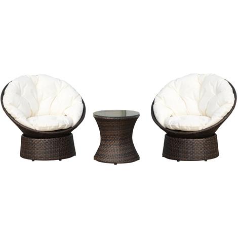 Stupendous Outsunny Rattan Garden Furniture Set 3 Pcs Bistro Set 2 Forskolin Free Trial Chair Design Images Forskolin Free Trialorg
