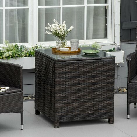 Outsunny Rattan Garden Furniture Side Table Patio Tempered Glass