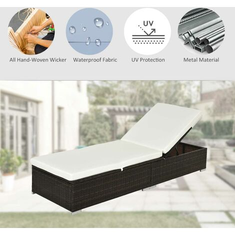 Outsunny Rattan Recliner Lounger Garden Furniture Sun Lounger