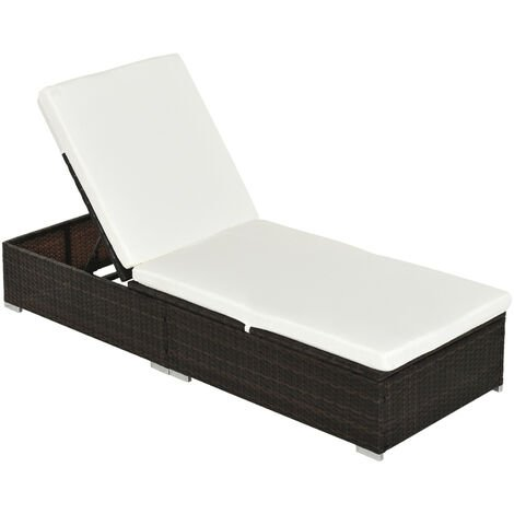 Outsunny Rattan Recliner Lounger Garden Furniture Sun Lounger Recliner Bed Chair Reclining Patio Wicker