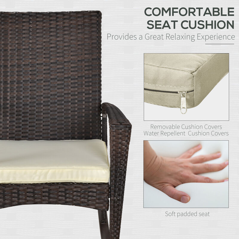 eb490a85a5cc Outsunny Rattan Rocking Chair Rocker Garden Furniture Seater Patio Bistro  Recliner Relaxer Outdoor Wicker Conservatory w/ Cushion - 841-146BN