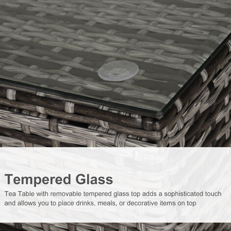 Outsunny Rattan Side Table w/ Glass Top Metal Frame Outdoor 68x64cm Mixed Grey
