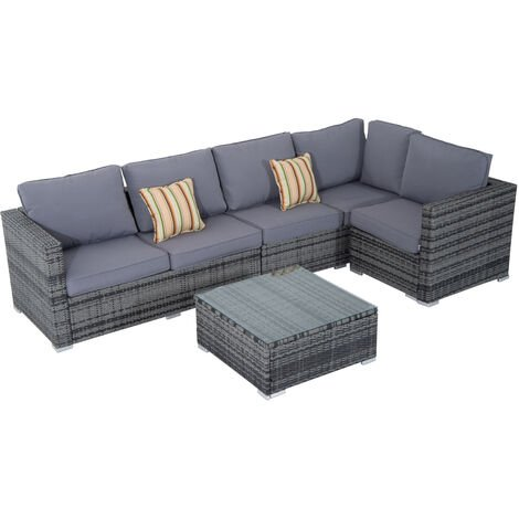 Outsunny Rattan Sofa Set 4PC Patio Cushioned Corner Sofa Coffee Table Outdoor Garden Furniture Aluminium Frame Wicker Weave Conservatory Grey