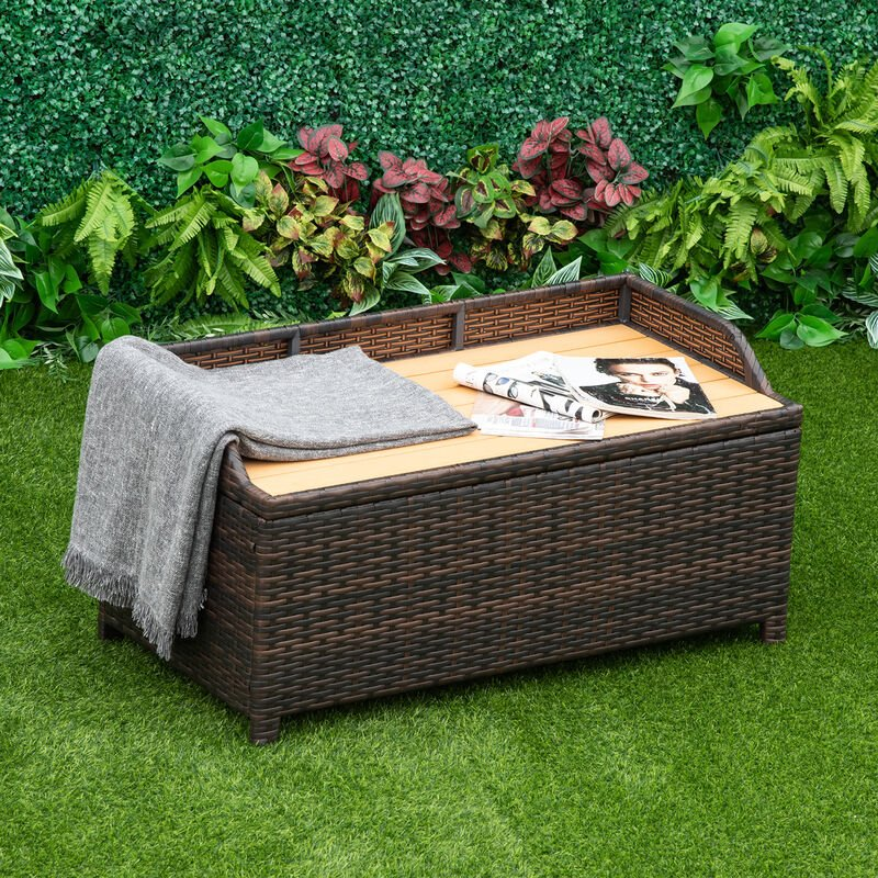 Outsunny Rattan Storage Cabinet Cushion Box Chest Bench Patio Weave Seat Seater W Lining