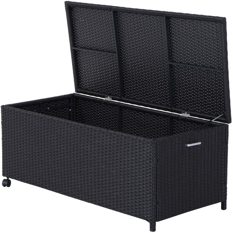 Outsunny Rattan Storage Cabinet Cushion Box Chest Outdoor Patio Wicker Weave Furniture Coffee