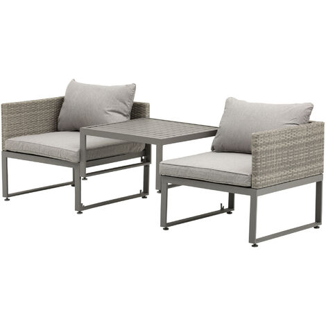 Outsunny Rattan Wicker Adjustable Sofa Coffee Table Set Outdoor Garden Furniture