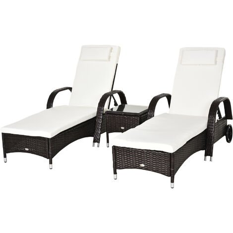 Outsunny Recliner Bed Chair Rattan Lounger Set Wicker Side Table - Brown