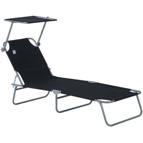 Peachy Outsunny Reclining Chair Folding Lounger Seat With Sun Shade Evergreenethics Interior Chair Design Evergreenethicsorg