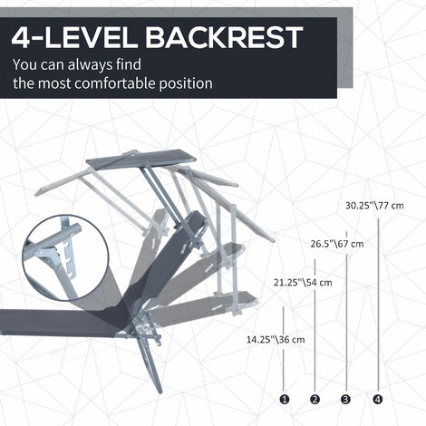 Outsunny Reclining Chair Folding Lounger Seat with Sun Shade Awning Beach Garden Outdoor Patio Recliner Adjustable