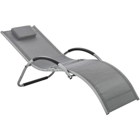Outsunny Reclining Sun Lounger Garden Sun Chair Seat Ergonomic w/ Pillow
