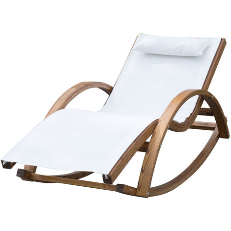 Astonishing Outsunny Rocking Chair Patio Wooden Wood Armchair Padded Machost Co Dining Chair Design Ideas Machostcouk