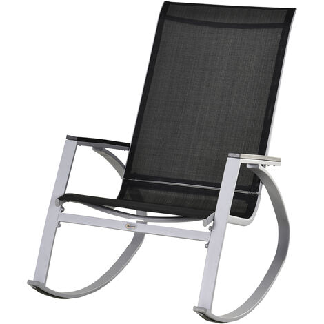 Outsunny Rocking Metal Chair Outdoor Patio Texteline Sun Lounger