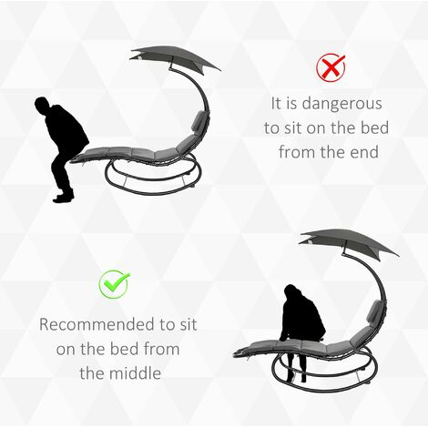 Outsunny Rocking Sun Lounger Single Chair w/ Top Canopy Parasol Cushion Headrest