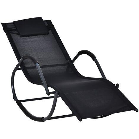 Outsunny Rocking Sun Lounger Zero Gravity w/ Steel Frame Textilene Seat w/ Pillow Black