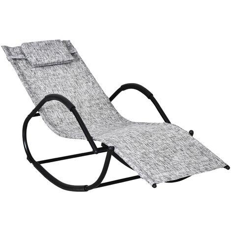 Outsunny Rocking Sun Lounger Zero Gravity w/ Steel Frame Textilene Seat w/ Pillow Grey