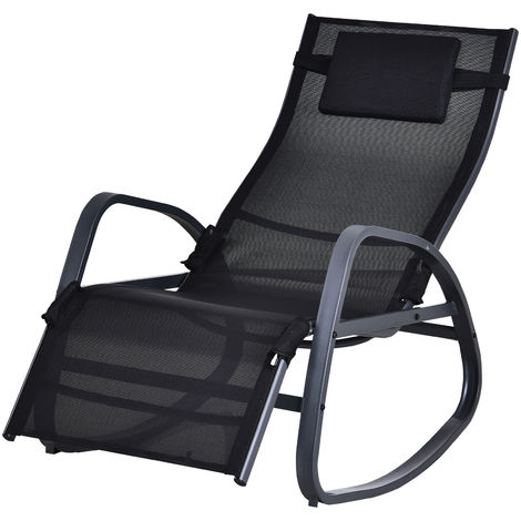 Outsunny Rocking Zero Gravity Sun Chair w/ Metal Frame Patio Adjustable Footrest Black