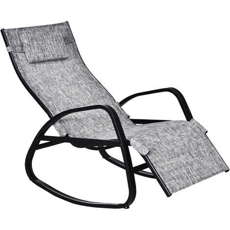 Outsunny Rocking Zero Gravity Sun Chair w/ Metal Frame Patio Adjustable Footrest Grey
