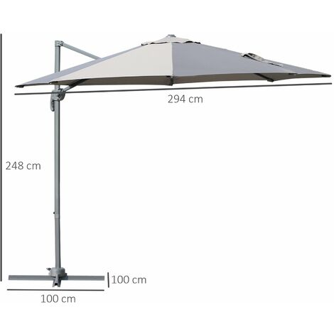 Outsunny Roma Sun Umbrella Cantilever Parasol 360° Rotation w/ Cross Base Grey