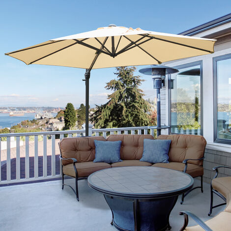 Outsunny Round Parasol Umbrella Sun Shade 360° Rotation w/ Cross Base 9.7ft