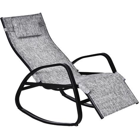 Outsunny® Schaukelliege Gartenliege Verstellbare Rückenlehne Kopfkissen Textilene Grau