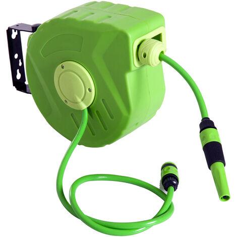 Outsunny® Schlauchtrommel Automatik 10m Schlauchaufroller schwenkbar Garten Grün - grün