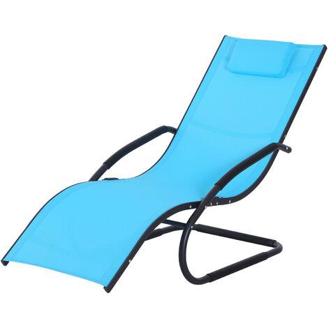 Sedie A Sdraio Da Giardino.Outsunny Sedia Sdraio Da Giardino Design Ergonomico Poggiatesta Rimovibile In Tessuto Per Esterni 150x63x89cm Azzurro
