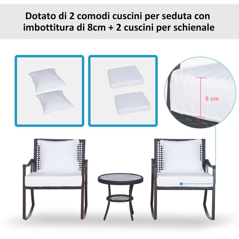 Tavolino con Cuscini 3pz Giardino Esterno Outsunny Set Mobili in Rattan Set 2 Poltrone